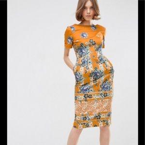 ASOS border print wiggle dress in floral print 8